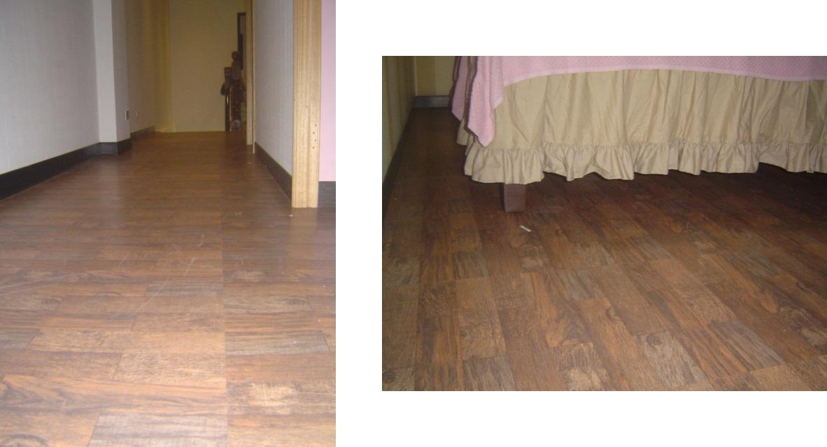 养生馆房内空间地板采用长条木纹塑胶地砖铺设